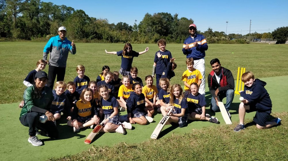 USF Women's Cricket Team Coaching young kids in collaboration with Tampa Premier League - TPL