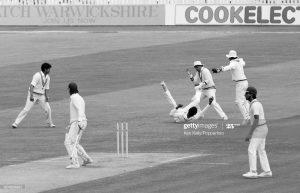Azharuddin catching Neal Radford in slips, 1986