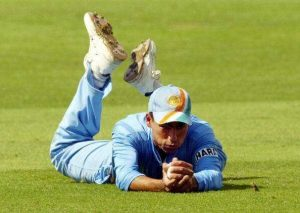 Kaif with a full length dive to sucessfully attempt a catch (One of All time Best Fielders in Indian Cricket)