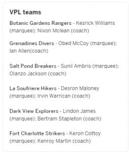 The stuture of Vincy T10 Premier League teams