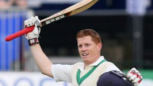 Kevin O'Brien celebrating his maiden ton in Test Cricket