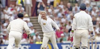 Ball of the Century: Shane Warne after dismissing Mike Gatting