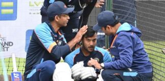 Mayank Agarwal after being hit on the head